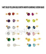 Earrings Stud Birth Stone 3mm-5mm Round in 14K Yellow Gold ALL COLOR / M... - $22.43+