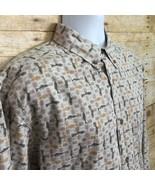 Woolrich Mens Large Beige Geometric Fish Print Cotton Button Front Shirt - $14.95
