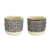 """Set of 2 Linear Designed Cream and Black Round Pots 4.75"""" - $22.24 CAD"""