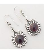 Handcrafted Garnet Gemstone 925 Sterling Silver Earrings, Handmade Jewel... - $28.99