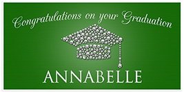 Class of 2017 Graduation Diamond Hat Green Banner Personalized Backdrop - £16.54 GBP