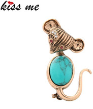 KISS ME Cute Blue Vintage Mouse Brooches for Women 2017 New Fashion Anim... - $52.96+