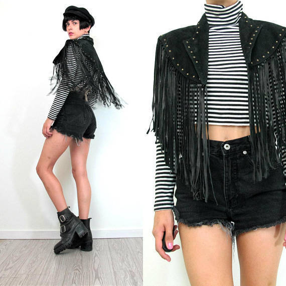 QASTAN Women's New Long Capelet Black Fringe Tassel Studded Leather Jacket WWJ74