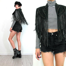 QASTAN Women's New Long Capelet Black Fringe Tassel Studded Leather Jacket WWJ74 image 1