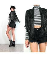 QASTAN Women's New Long Capelet Black Fringe Tassel Studded Leather Jack... - $98.01+