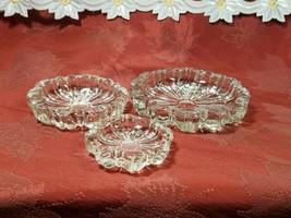 3 Vintage Ashtrays Hazel Atlas Nested Pressed Fluted Clear Glass image 1