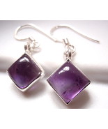 Small Amethyst Square Earrings 925 Sterling Silver Dangle Drop New - $22.76