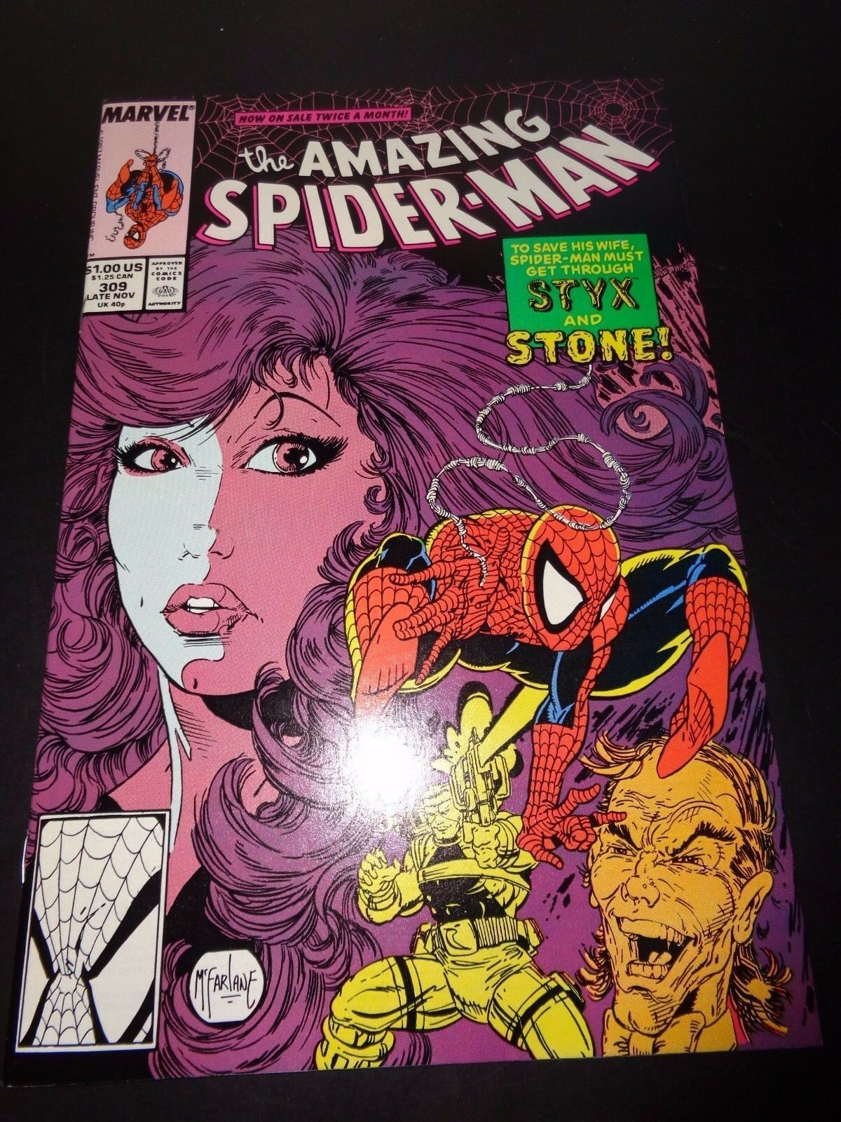 Amazing Spider-Man #309 Marvel Comic Book NM (9.0) Condition 1988 Todd McFarlane