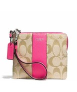 Coach Signature Small Wristlet Wallet 49323 Khaki-Pink - $49.49