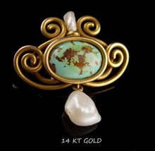 Antique 14kt GOLD brooch - Victorian pin - Turquoise pearl - edwardian j... - $425.00