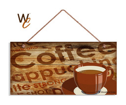 Coffee Bar Sign, Cappuccino, Red Coffee Cup, Rustic Wood Style 5x10 Cafe... - $11.39