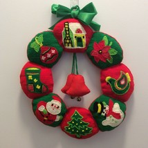 Vintage Handmade Christmas Felt Wreath Needlepoint Holiday Treasures Bells - £22.06 GBP