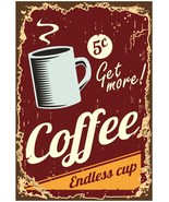 """Vintage Look Retro Business Sign """"Get More Coffee"""" Counter Top Stand-Up ... - $16.99"""