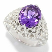Victoria Wieck Collection 11 x 9mm Oval Cut Gem & White Topaz Filigree Ring - $108.89