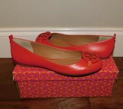 New Tory Burch Gabriel Exotic Red Leather Logo Ballet Flats Shoes Womens 7.5 Nib - $175.00