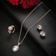 Women Stainless Steel Moonstone Ring+Earrings+Necklace Chain Jewelry US image 5