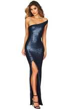 Navy One Shoulder High Split Sequined Gown Dress  - $34.05
