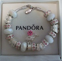 Authentic Pandora Sterling Silver Bracelet Pink Crystals, white Butterflies - $93.49