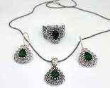 Emerald jewelry set for women, 3 piece filigree jewelry sets for bridesmaids - $176.00
