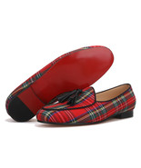 FERUCCI Scottish Red Custom-made Linen Slippers Loafers Flats with Black Tassel - $169.99