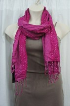Style & Co Scarf Sz OS One Size Pink Metallic Sequin Fringe Casual Scarf - $14.27