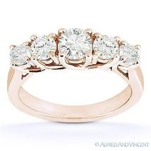 Forever ONE D-E-F Round Cut Moissanite 14k Rose Gold Trellis Wedding Rin... - €749,03 EUR+