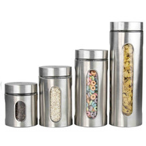 Home Basics 4 Piece Kitchen Food Storage Canister Set Stainless Steel & ... - $33.29