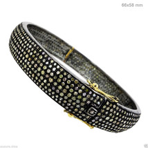 14k Gold Pave Natural 6.98ct Diamond Bangle Bracelet 925 Sterling Silver... - $1,646.94