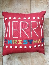 "Christmas Pillow Merry Christmas Jingle Bells 17"" x 17"" Free Shipping - $39.59"