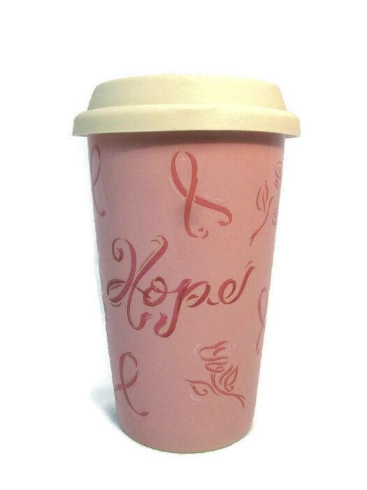 Longaberger Pink Pottery Travel Mug Cup w/ Lid Horizon of Hope 8 Oz - $24.74