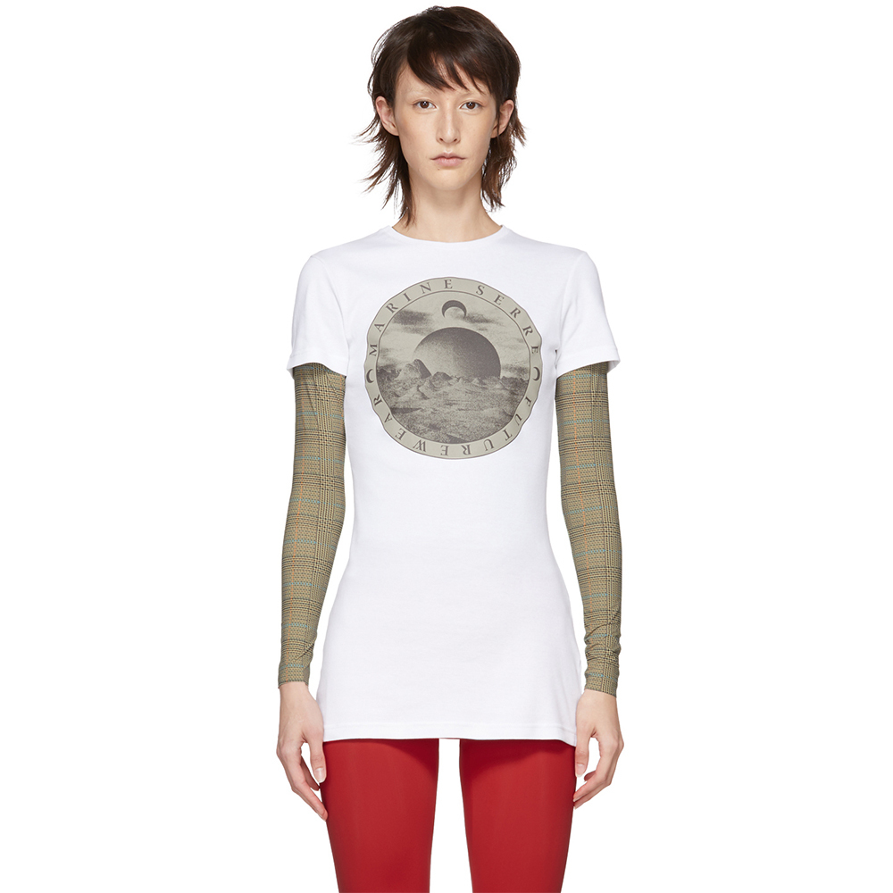 Marine serre short sleeve graphic white t shirt 1