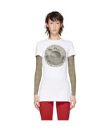 MARINE SERRE Short Sleeve Cotton Jersey Graphic T-Shirt White and Black - $158.00