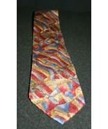 Christian Dior Monsieur Italy Brown Red Blue Silver Gold Pattern Silk Ne... - $19.95