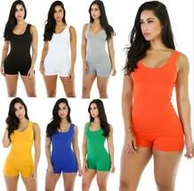 Hot Women's Sleeveless Short Romper Jumpsuit Bodysuit Stretch Leotard To... - $8.59+