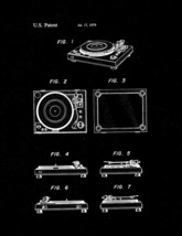 Record Player Patent Print - Black Matte - $7.95+