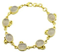 pleasing Rose Quartz Gold Plated Pink Bracelet genuine jaipur US gift - $29.69