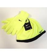 Nike Volt & Black Fleece Beanie & Fleece Gloves Youth Boy's 8-20 NWT - $22.27