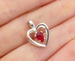 925 Sterling Silver - Vintage Tear Drop Pink Topaz Love Heart Pendant - ... - $22.44