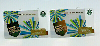 Primary image for Starbucks Coffee 2014 Gift Card Happy Hanukkah Limited Ed Zero Balance Set of 2
