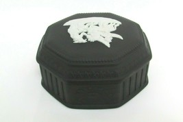 Wedgwood Basalt Black Octagon Trinket Box Made In England Marked - $94.05