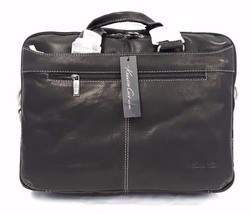 Kenneth Cole The Op-Port-unity Crumpled Leather Double Gusset Black Brie... - $79.95