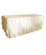 CREAM Layered Table Skirt Cotton - Ruffle Layered Complete Table Cover - $98.99+