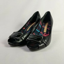 Marc Jacobs Black Leather Heels 38 EU Round Open Toe Womens Size 7.5 to 8  - $49.95