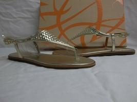 Via Spiga Size 7 M Aislin Platinum Leather T Strap Sandals New Womens Shoes - $49.01