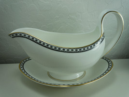 Wedgwood Ulander Black Gravy Boat and Underplate - $201.95