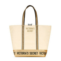 NWT Victoria's Secret Sparkle Carryall Zip Top Canvas Tote Bag 2018 - $28.04