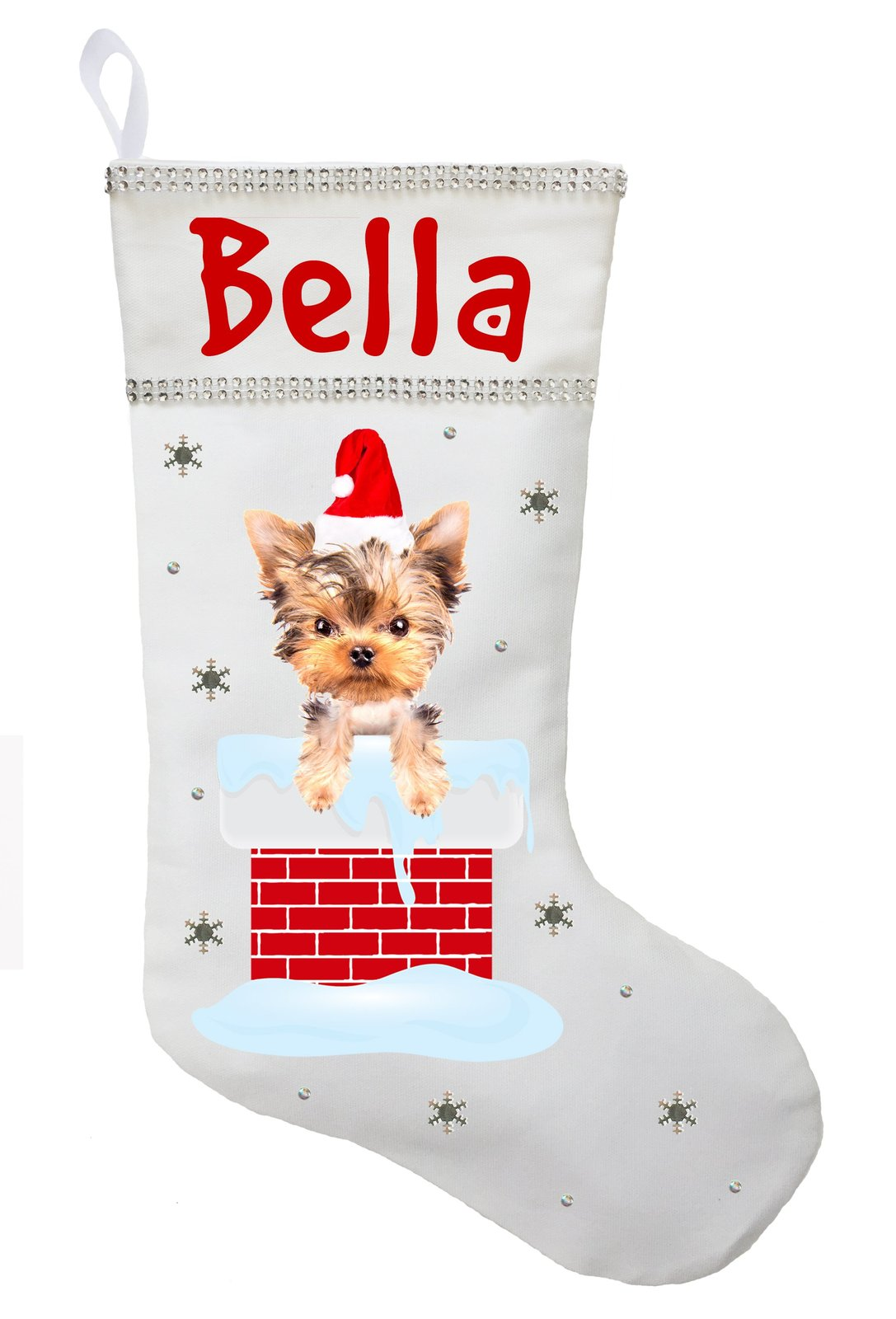 Yorkshire Terrier Christmas Stocking - Personalized Yorkie Stocking - White