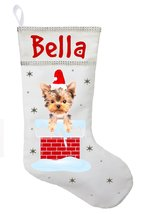 Yorkshire Terrier Christmas Stocking - Personalized Yorkie Stocking - White - $29.99