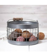 Irvin's Country Tinware Round Wire Basket in Antique Tin - $43.02