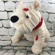 """Dan Dee Bulldog Plush Puppy Red Glitter Kiss Plush Animal Love Dog 12"""" + - $24.71"""